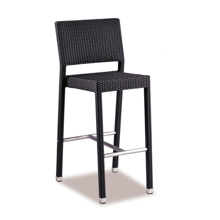 New Black Wicker Solana Weave Rattan Style Office Garden Canteen Cafe Bistro Bar Stools