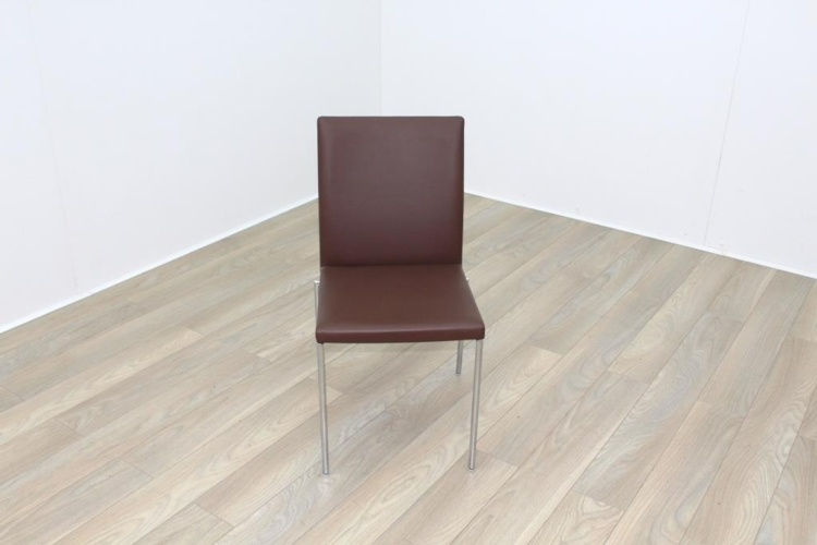 Brunner Brown Leather Chrome Base Meeting Chair