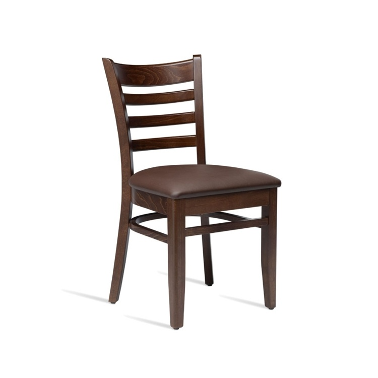New PLUS Dark Walnut Solid Beech with Dark Brown Faux Leather Seat Pad Side Chair