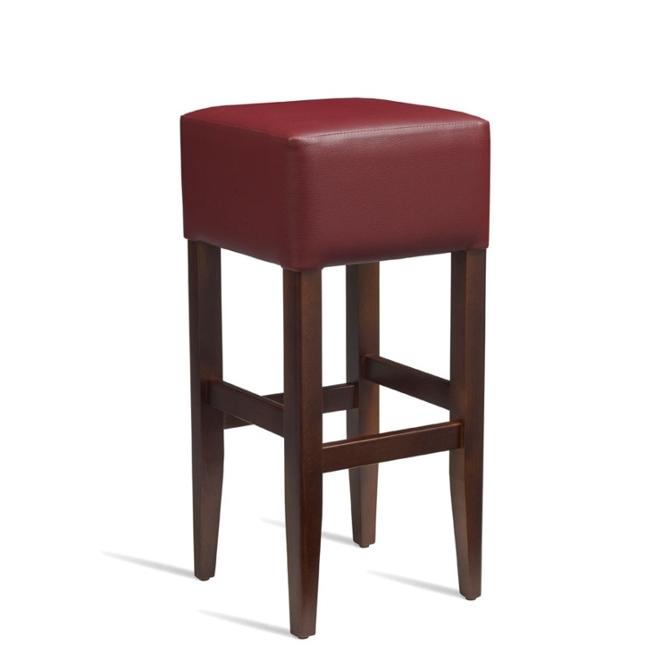 New HEAT Solid Beech Walnut Finish Red Faux Leather Bar Stool