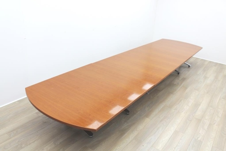 Cherry Veneer Boat Shape Office Meeting Table