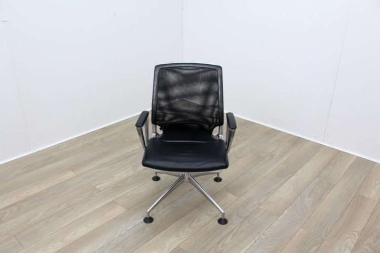 Vitra Meda Black Leather Seat Mesh Back Meeting Chair