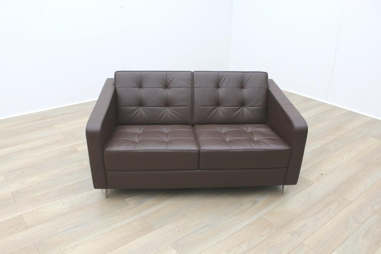 Davison Highley Fifth Avenue Brown Leather Office Reception Sofa