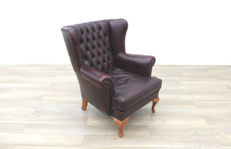 Oxblood Leather Queen Anne Wingback Chesterfield Arm Chair w/ Solid Oak Legs