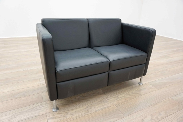 Black Leather 2 Seater Office Reception Sofa