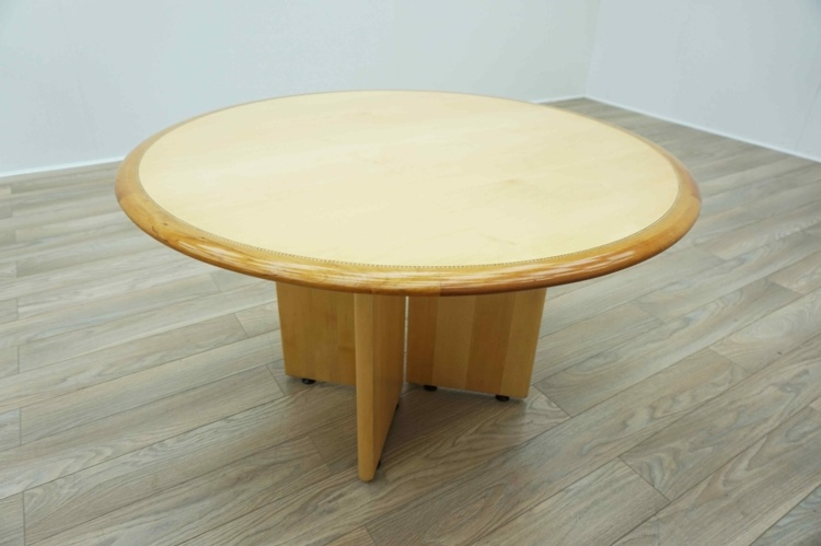 Maple Veneer / Cherry Inlaid Circular Executive Office Meeting Table