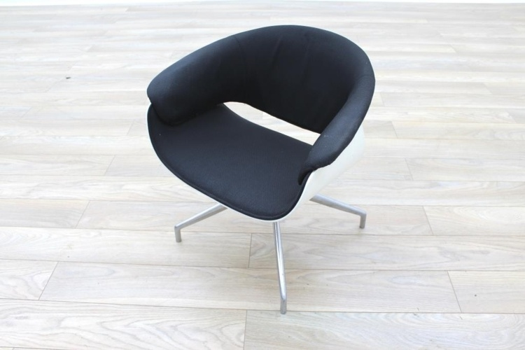 B&B Italia Sina Black Fabric White Back Office Reception Chair