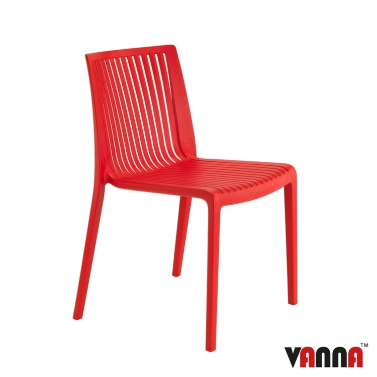 New Red Reinforced Polypropylene Stacking Office Canteen Bistro Cafe Chairs