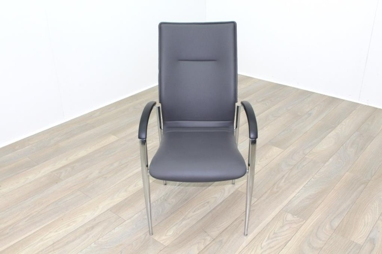 Brunner Dark Grey Leather Meeting Chair