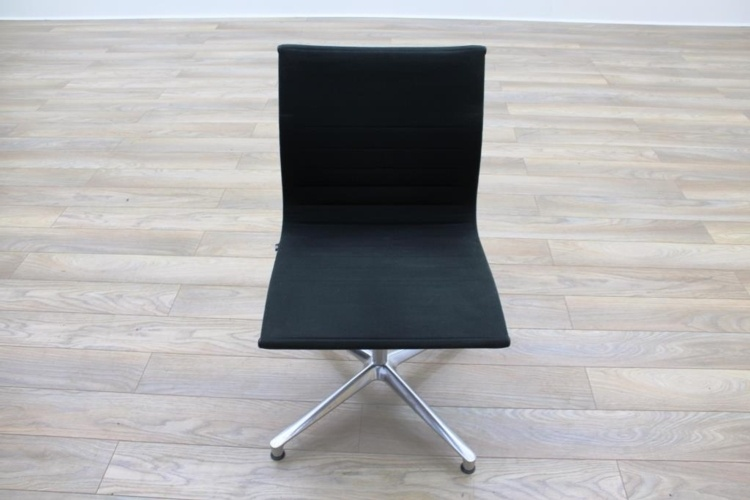 ICF UNA Executive Black Fabric Chrome Office Meeting Chairs