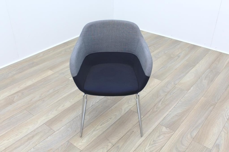 Brunner Grey and Blue Fabric Reception Tub Chair