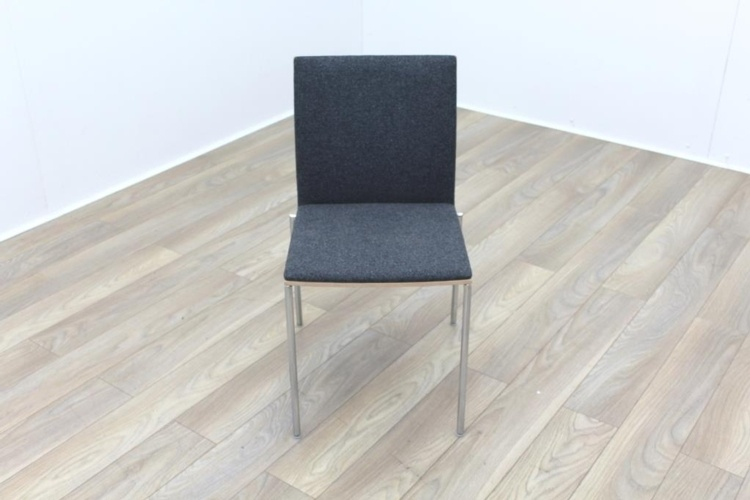 Brunner Oak Back Grey Fabric Back Meeting Chair