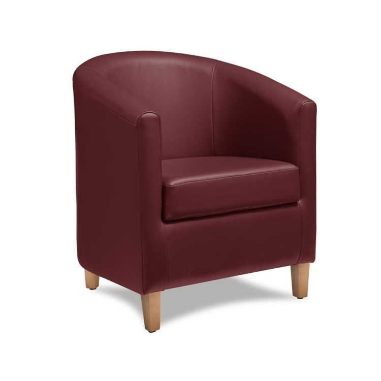 New BAY Wine Red High Quality Faux Leather Tub Chair