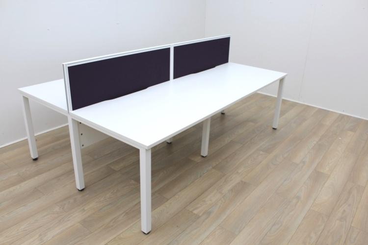 White Bench Desking With White Frame
