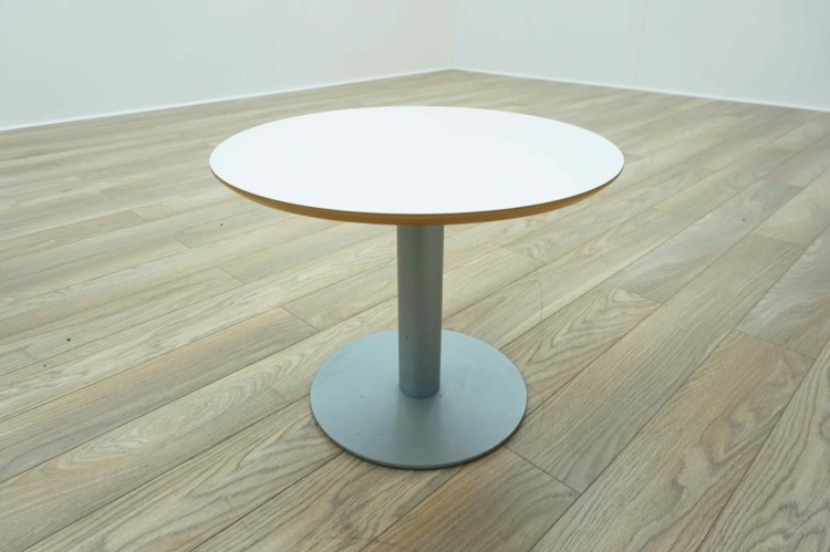 White Circular Office Reception Coffee Table