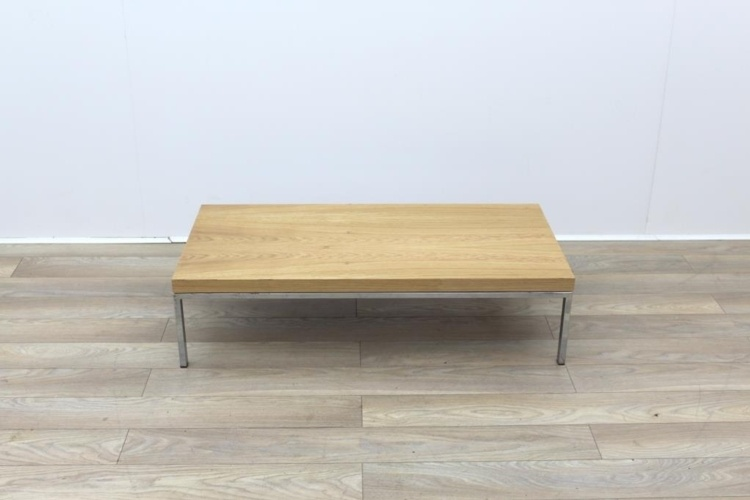 Wood Coffee Table With Chrome Base