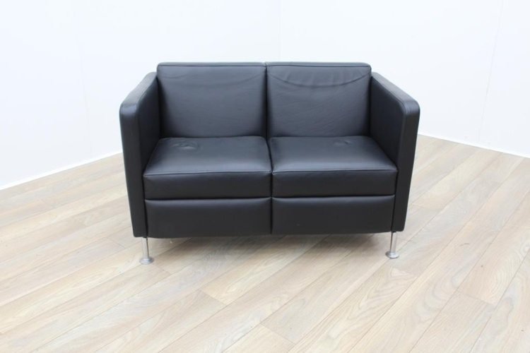 Black Leather Two Seater Sofa Black