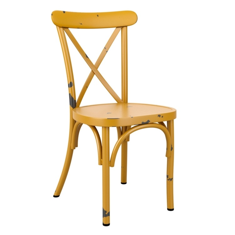 New Vintage Yellow Aluminium Stacking Contract Quality Cafe Bistro Dining Chairs