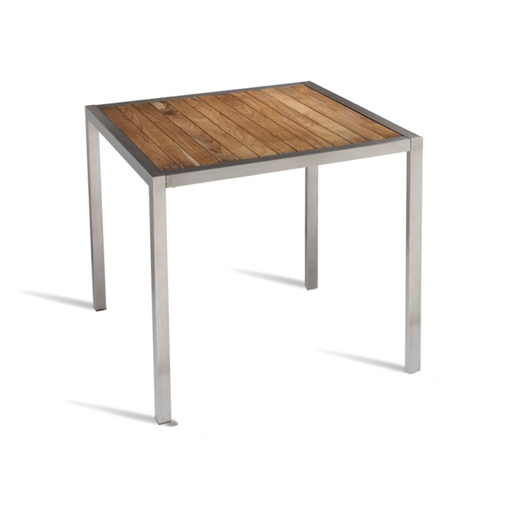 New BUZZ Teak Slatted Stainless Steel Frame Canteen Café Square Table