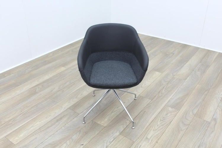 Brunner Grey Leather Back Grey Fabric Seat Reception Tub Chair