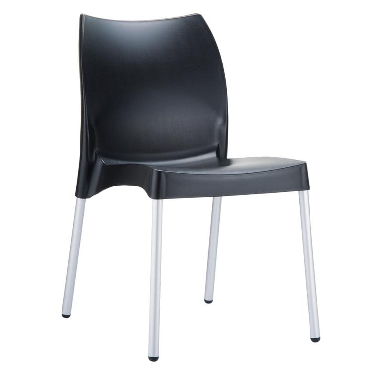 New Black Polypropylene Aluminium Leg Stacking Office Canteen Cafe Bistro Meeting Chairs