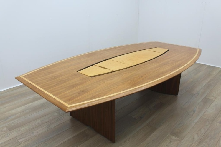 Stunning Sven Christiansen Inlaid Walnut / Bird's Eye Maple Barrel Shaped Office Meeting Table