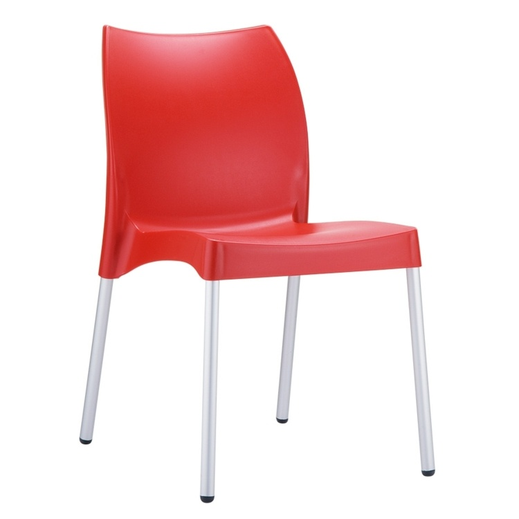 New Red Polypropylene Aluminium Leg Stacking Office Canteen Cafe Bistro Meeting Chairs