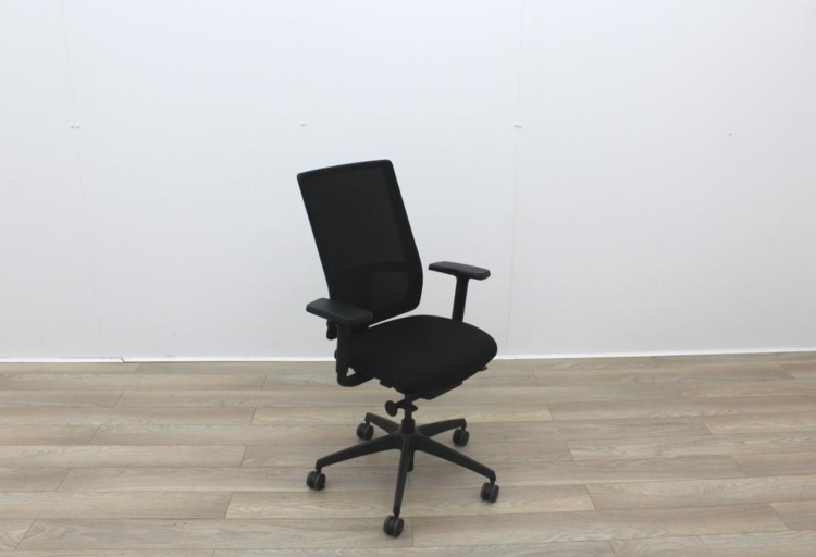 Black Seat and Mesh Back Multifunction Office Task Chairs