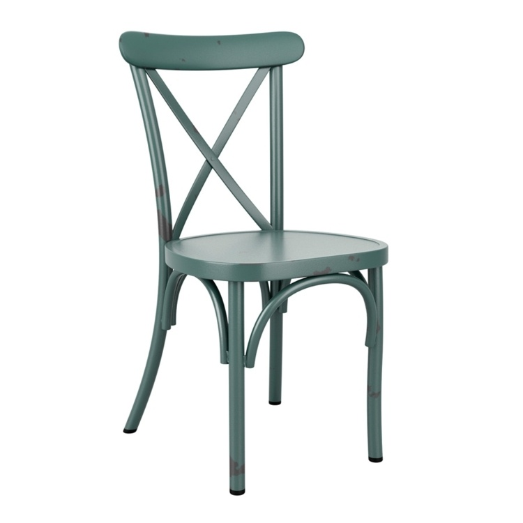 New Vintage Light Blue Aluminium Stacking Contract Quality Cafe Bistro Dining Chairs
