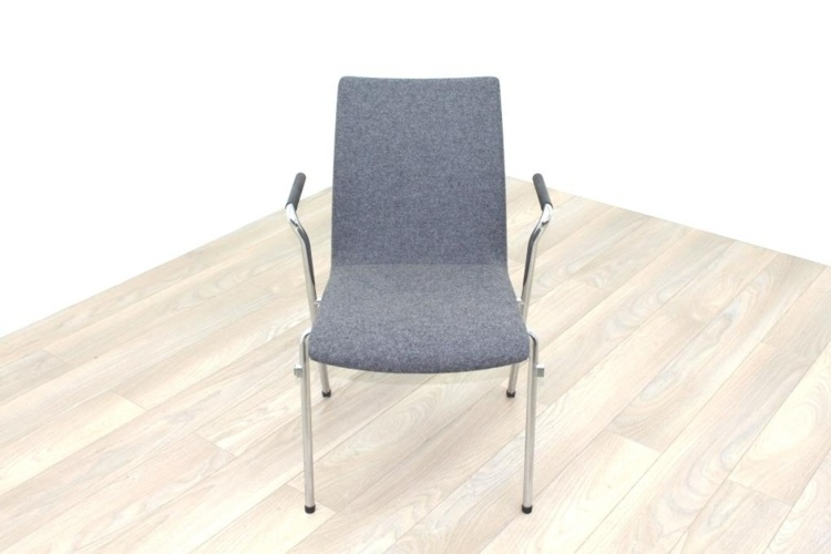 Brunner Light Grey Fabric Meeting Chair with Round Armrests