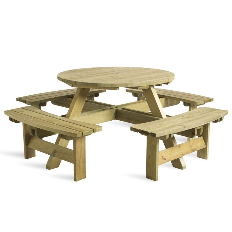 New KING 8 Seater Round Timber Picnic Table