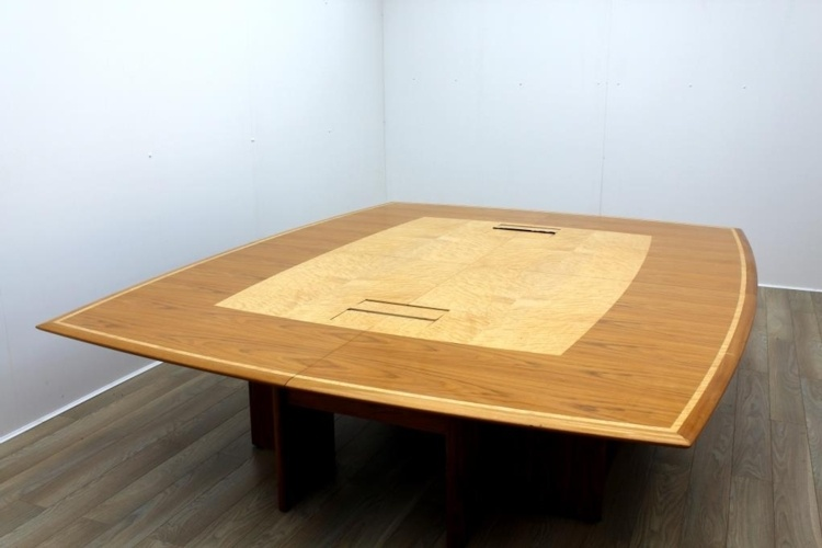 Sven Christiansen Inlaid Walnut / Maple Barrel Shape Office Meeting Table