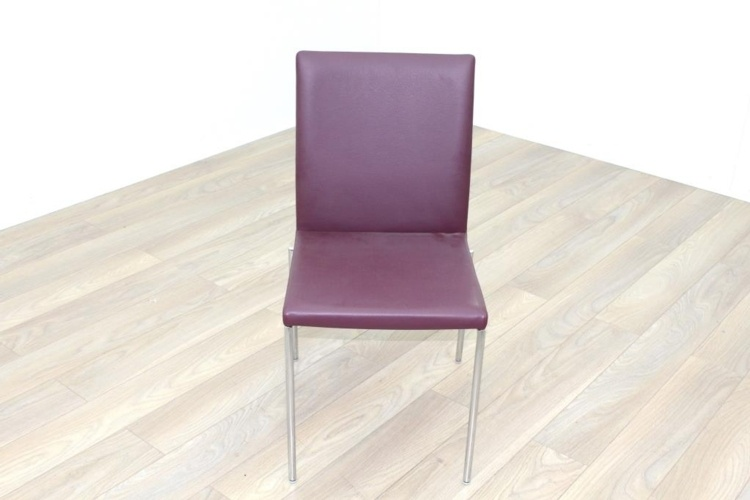 Brunner Burgundy Leather Chrome Frame Meeting Chair