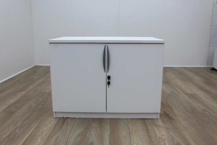 White Desk Height 2 Door Office Storage Cupboards