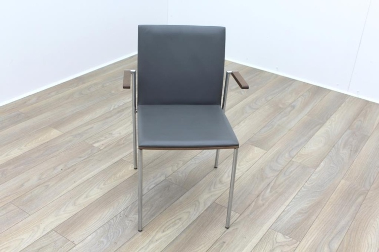 Brunner Walnut Back Grey Leather Seat Meeting Chair