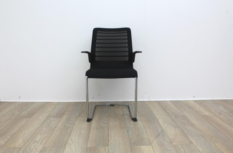 Black meeting chairs with mesh back and mesh seat finish with chrome base