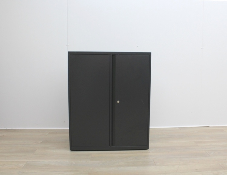 Black Metal 2 Door Cupboards With Two Shelves