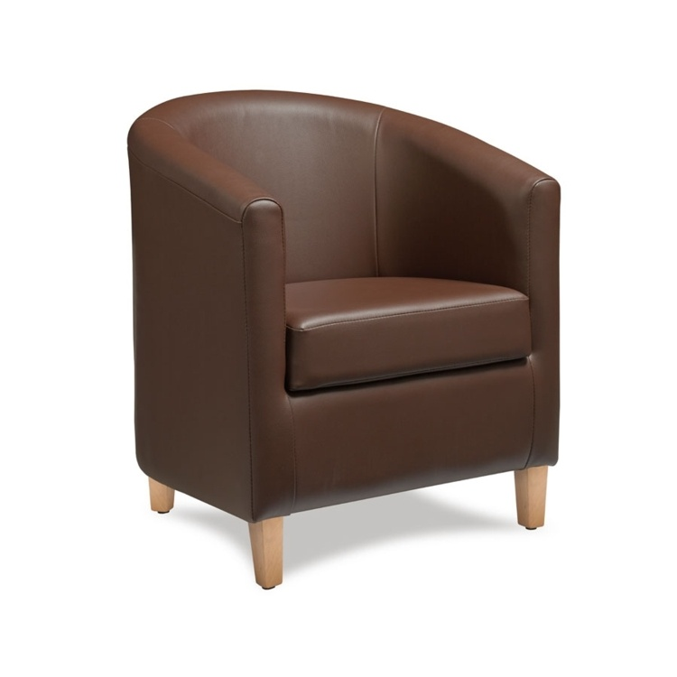 New BAY Brown High Quality Faux Leather Tub Chair