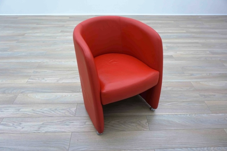 Red Leather Office Reception Tub Style Chairs