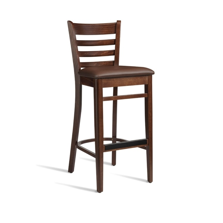 New PLUS Dark Walnut Solid Beech with Dark Brown Faux Leather Seat Pad Bar Stool