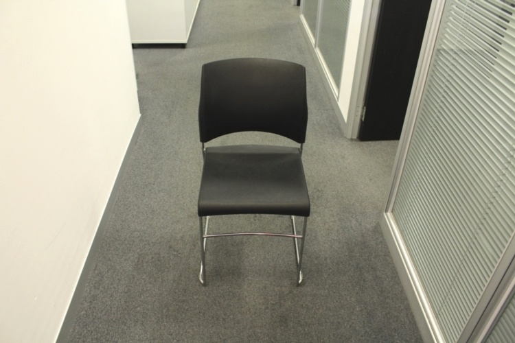 Black Sitag Plastic / Chrome Frame Stacking Office Meeting / Canteen Chairs