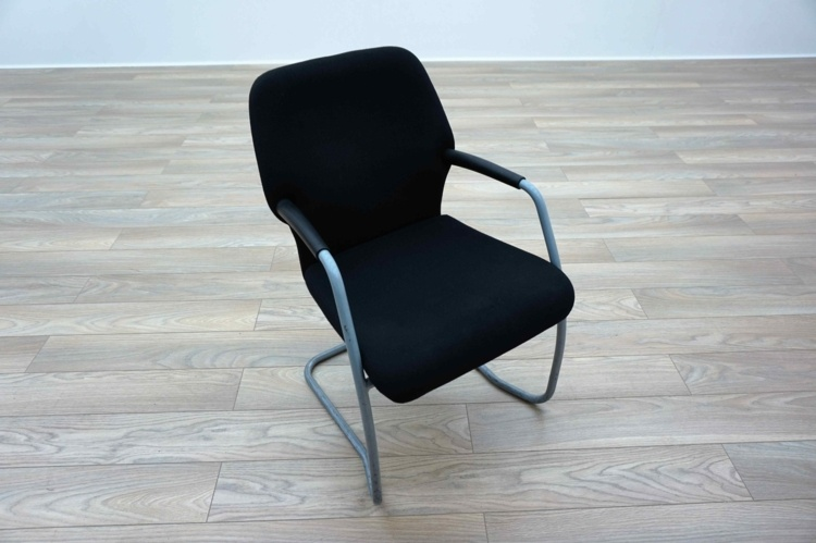 Black Fabric Cantilever Office Meeting Chairs