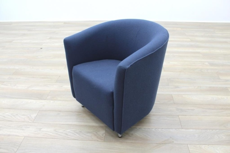 Dark Blue Fabric Office Reception Tub Chairs