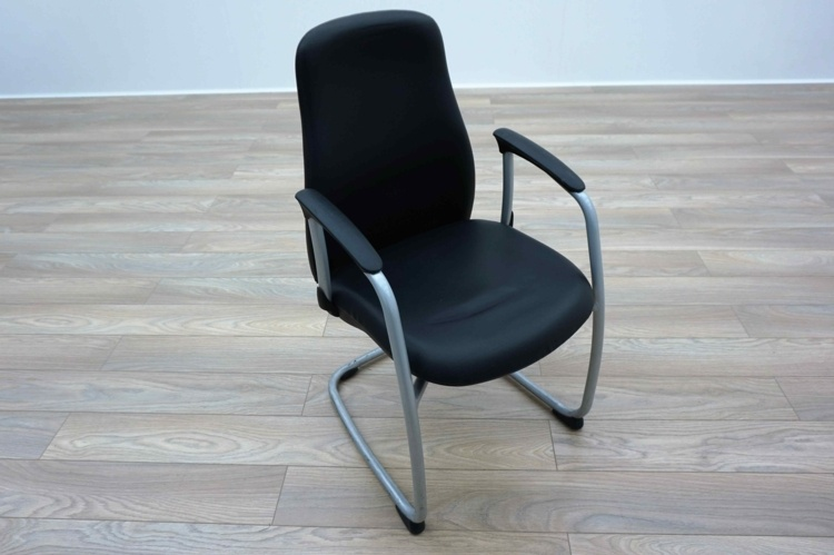Black Leather Cantilever Office Meeting Chairs