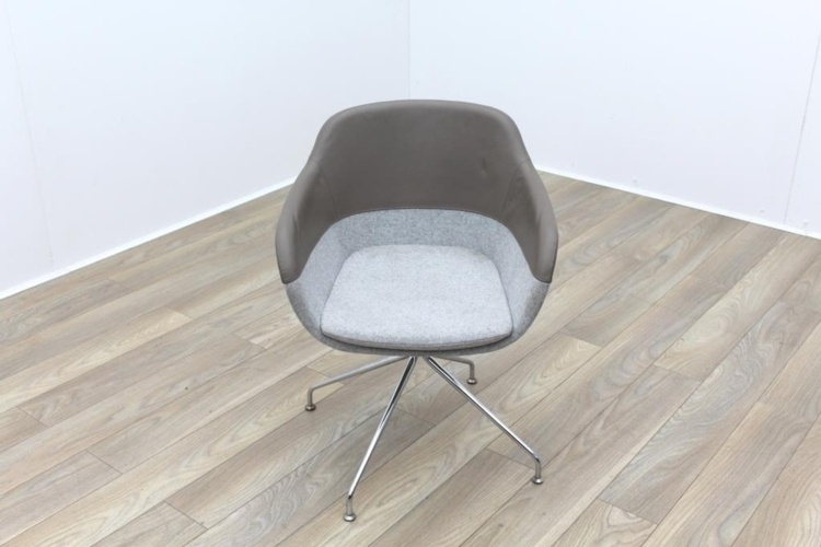 Brunner Brown Leather Back Grey Fabric Seat Reception Tub Chair