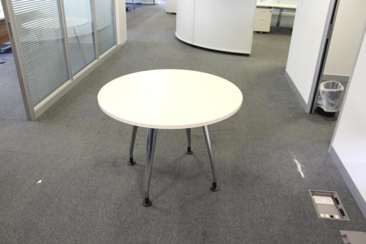 White Verco Round Table With Chrome Legs