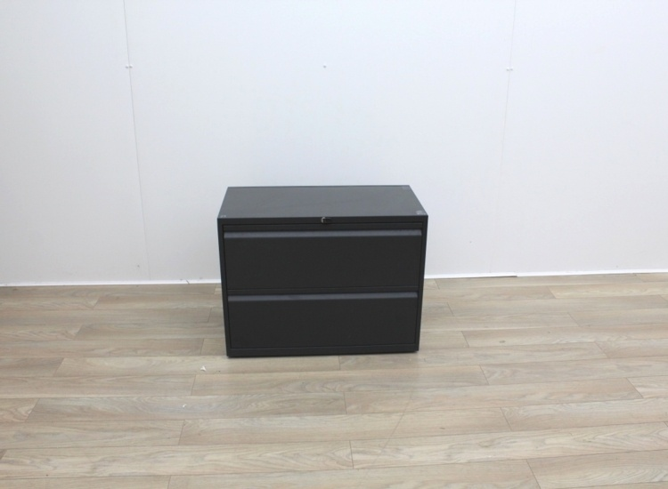 Two Drawer Black Metal Side-Filing Cabinet