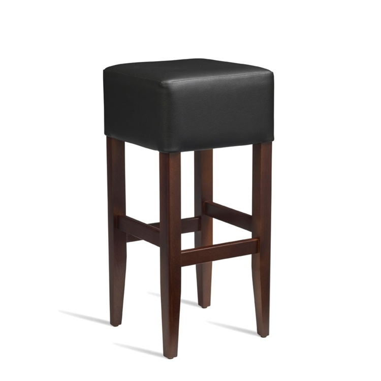 New HEAT Solid Beech Walnut Finish Black Faux Leather Bar Stool