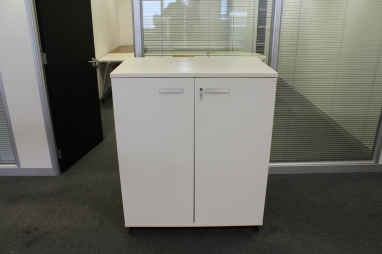Double Door White Cupboard With Two Shelves