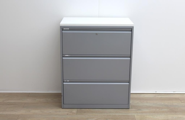 Side grey metal filing cabinets finish with wood top
